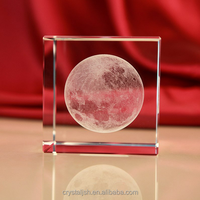 K9 Crystal glass Cube 3d laser engraved Moon Paperweight Crystal Figurines crafts for Decoration