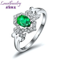 NEW Genuine Natural Emerald Ring With Diamond In 18K White Gold Oval 4x6mm