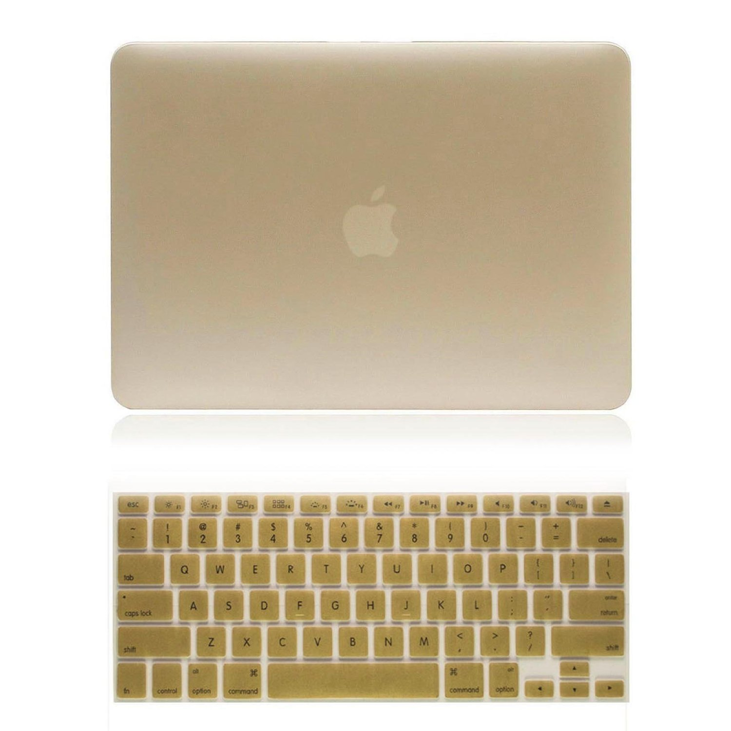 "New Arrival! 2in1 Gold Champagne Frosted Matte Hard Case Cover (Cut Off/Out Logo) for Macbook Air 13""13.3''inch (A1369/A1466) Laptop Case + Silicone Keyboard Cover, ePacket Shipping"