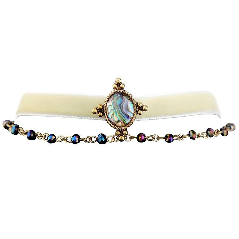 6c56417193ca Xl02099 Cadena de cuentas cinta de doble capa collar de gargantilla de  piedra de Gema encanto