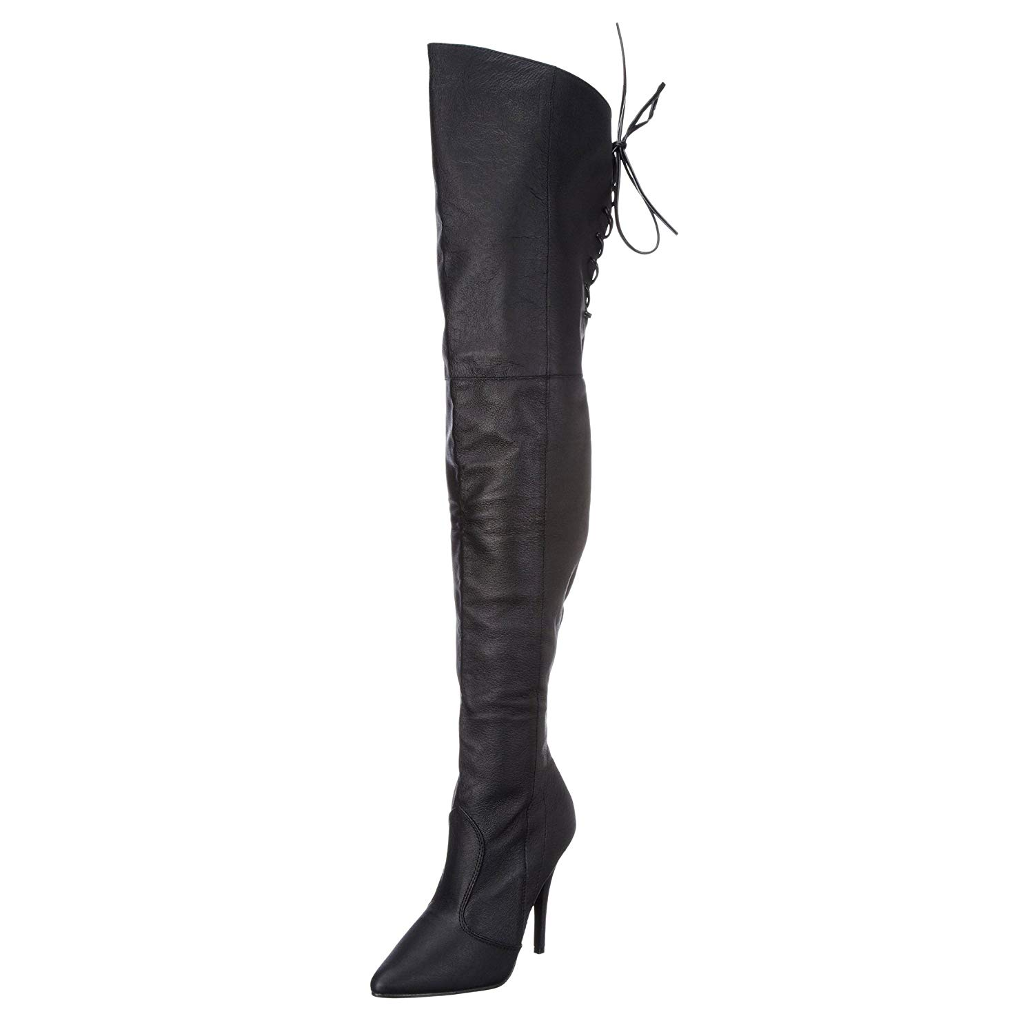 51563ca14 Summitfashions Womens Black Over The Knee Boots Thigh High Boots Side  Zipper 5 inch Heels