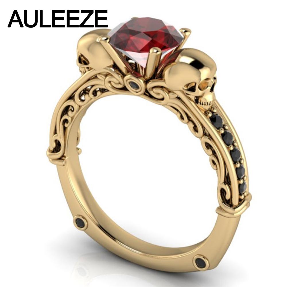 256024c07d43 Halloween filigrana individualidad anillo oro amarillo de 10 K anillo de  boda 1CT Natural granate rojo doble cráneo anillo de compromiso para las  mujeres en ...