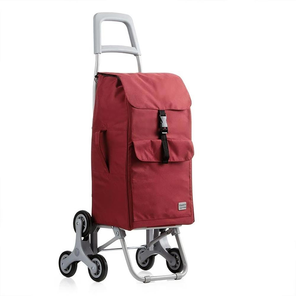 HCC& Dolly Shopping Cart Climb the Stairs Trolley Portable Multifunction High capacity Shopping Grocery Foldable Cart Rolling Swivel Wheels 30L Red