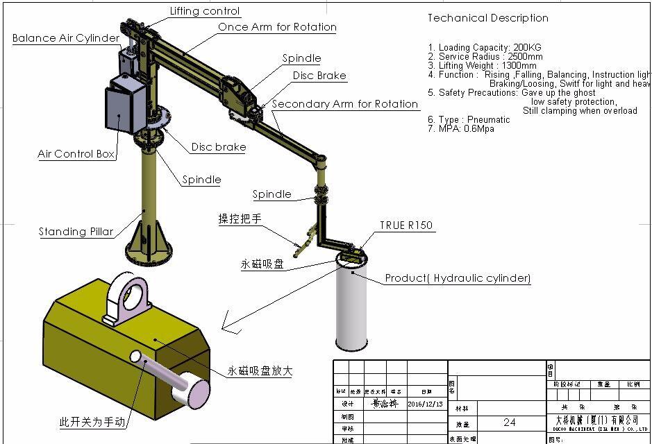 Pneumatic Manipulator Arms : Economical column mounted automotive tire manipulator