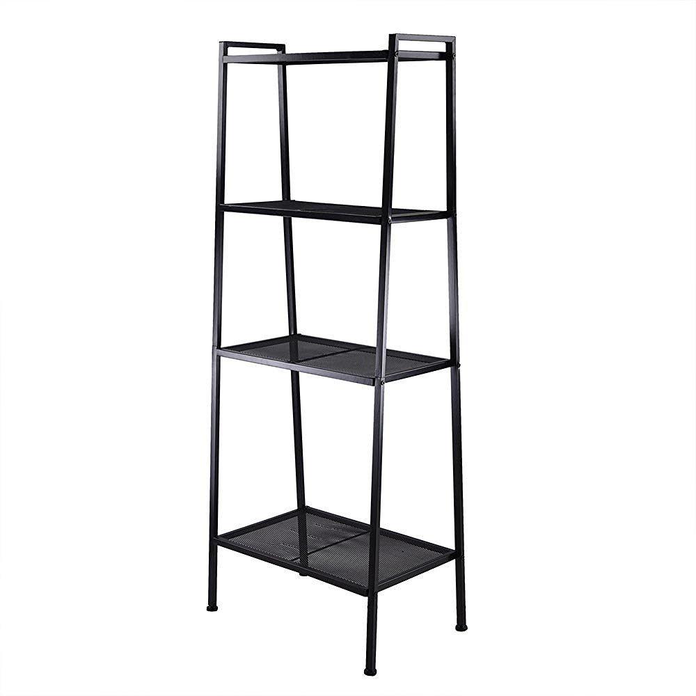 TRIPREL INC. Metal Frame 4 Tier Bookshelves Ladder Storage Rack Display - Black