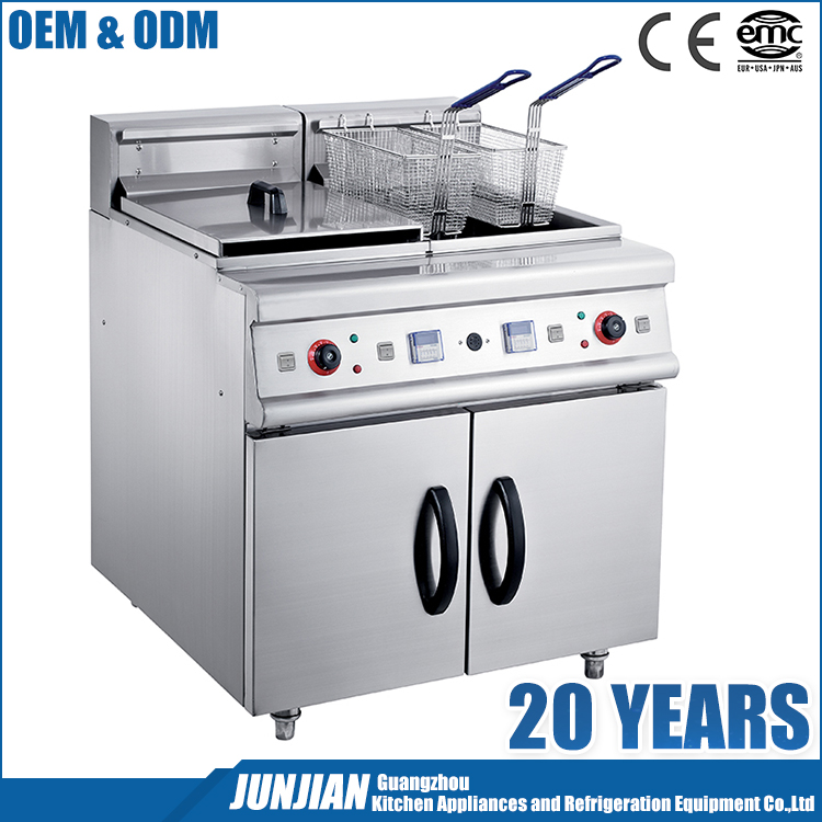Stainless steel commercial electric industrial deep fryer with double tanks