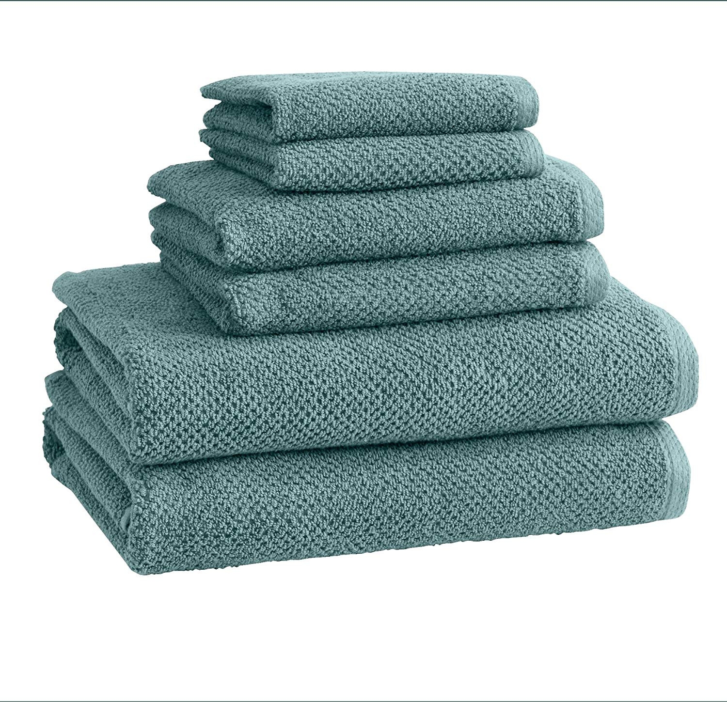 Great Bay Home 6-Piece 100% Cotton, Ultra-Absorbent Popcorn Towel Set. 6 Elegant Solid Colors. Popcorn Weave. Acacia Collection. (6pc set, Mineral Blue)