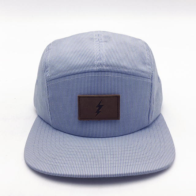 950fc9221d765d Baby Blue Stripes 5 Panel Caps in flat brim hat with leather patch