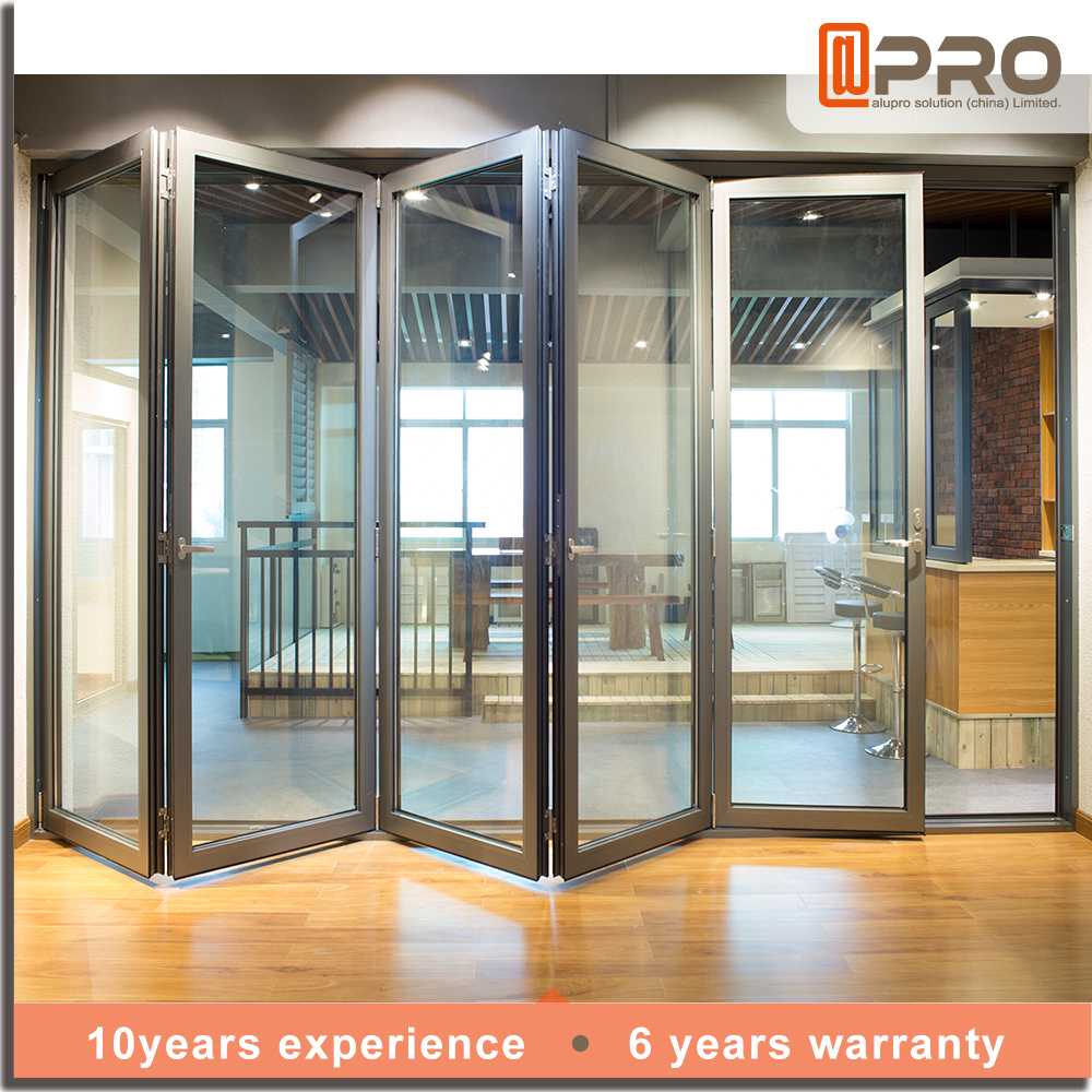 2017 hot sell folding door price exterior glass folding door aluminum sliding folding door