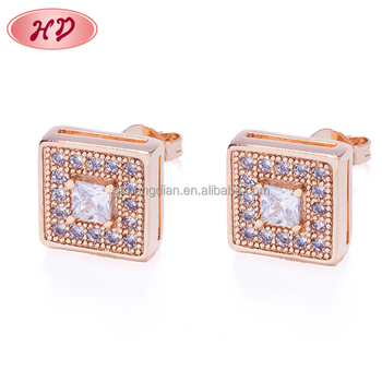 Triangle Shape Gold Carving Pave Diamond Stud Earrings, Cheap Wholesale Zircon Earring Jewelry