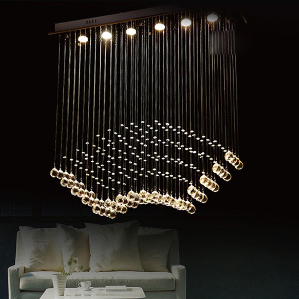 modern chandelier k9 crystal ball fan curtain style luminaire decoration ceiling art lighting. Black Bedroom Furniture Sets. Home Design Ideas