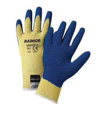 Yellow 10 Gauge Kevlar String Knit Gloves With Blue Latex Crinkle Finish Palm And Thumb Coating