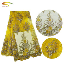 Afrika hot <span class=keywords><strong>renda</strong></span> <span class=keywords><strong>kuning</strong></span> floral bordir lace dress <span class=keywords><strong>kain</strong></span>