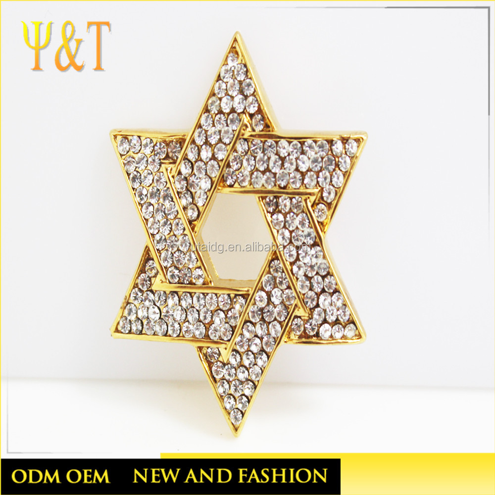 New design hip hop bling jewelry stainless steel gold plated Jewish Star Pendants