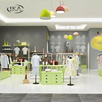 Children Clothing Shop Fixtures Design Decoration Kids Store Display With  Metal Racks
