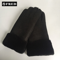 Wholesale classic high quality handmade double face sheepskin winter leather gloves