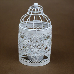 Cheap hollow out Birdcage wrought iron antique metal candle holder lantern