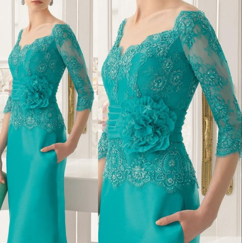 Alibaba.com / ZH1115B New Fashion Three Quarters Sleeves Green Evening Dress Long Mother of the Bride Lace Dresses