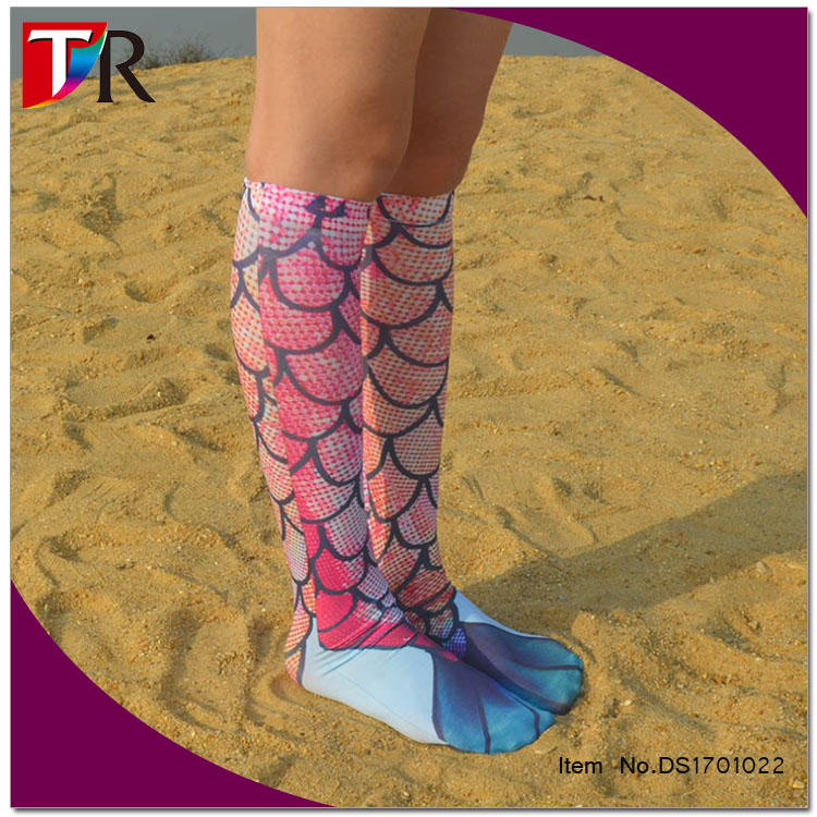 Gorgeous Mermaid Compression Socks For Women 3D Print Knee High Boot