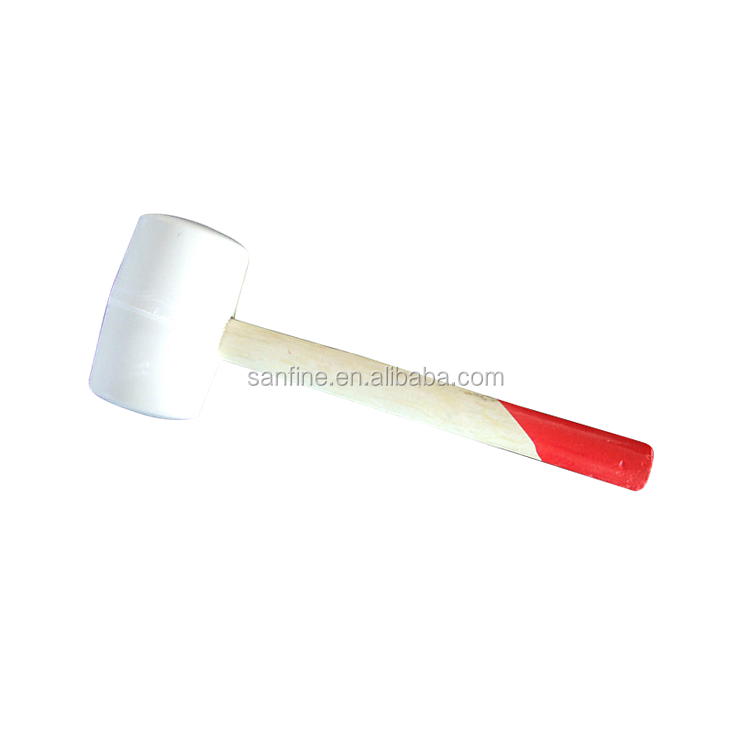 Powerbuilt 16 Ounce White Rubber Mallet with Wooden Handle Hammer