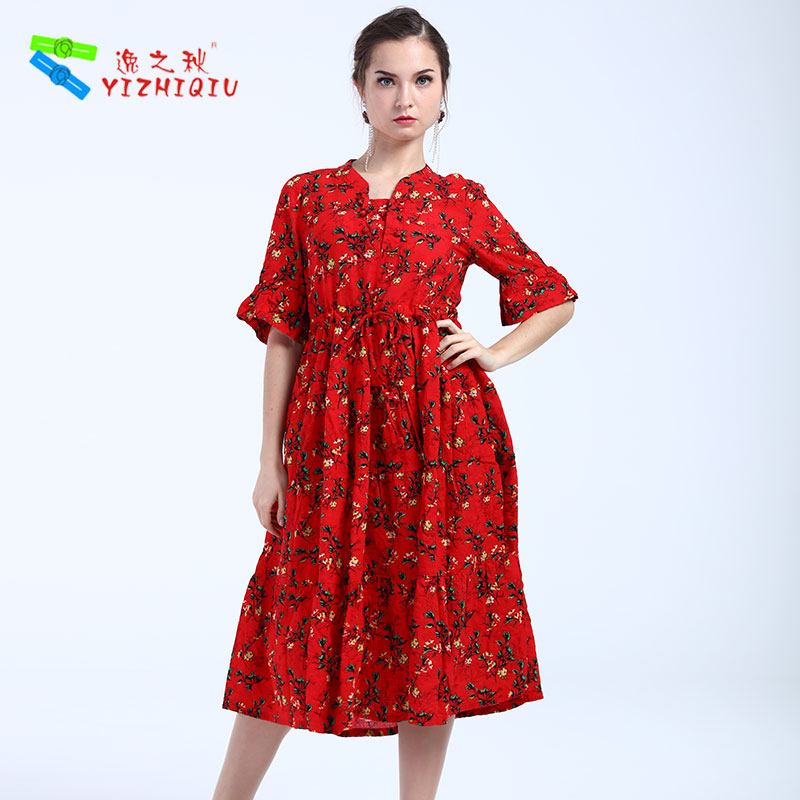 YIZHIQIU 2019 new arrivals organic cotton red floral long cotton dress