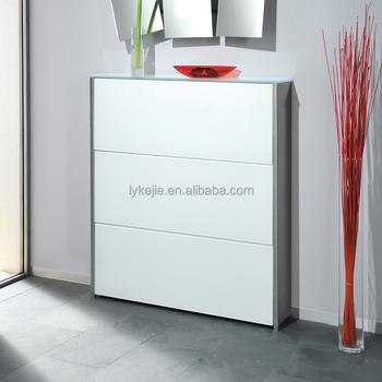 Mirror Steel Shoe Rack Design Sliding Door Metal Chip Board Cabinet Modern 3