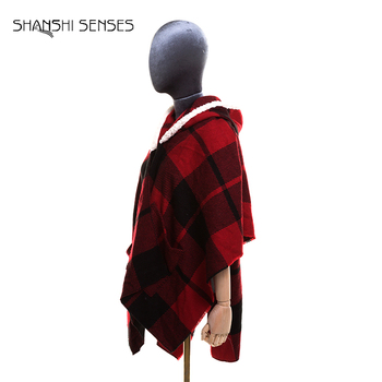 Ladies red plaid pocketed stoles winter poncho scarf