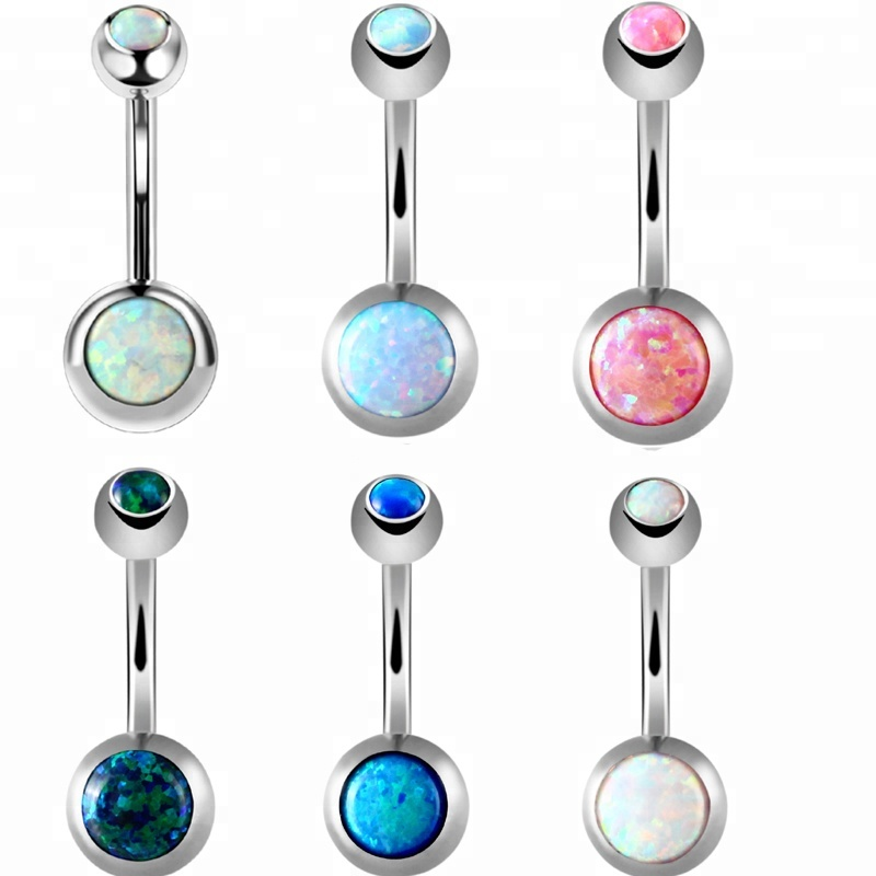 Sex Accessories Navel Belly Ring Astm F136 Titanium Synthetic Opal Navel Body Piercing Buy Navel Belly Ring Titanium Belly Piercing Navel Body