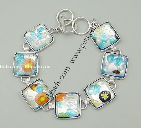 Lampwork Bracelets, silver foil, with brass setting, Square, 18x18x7mm, Sold per 8.5-Inch Strand