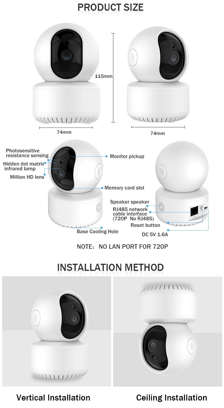 Industrial Private Label Motion Sensor Long Range Wireless Wifi 360 Angle Panoramic Ip Security Camera hd CCTV camera
