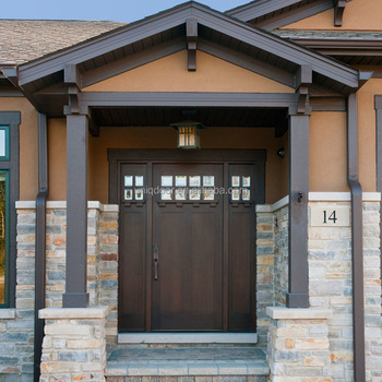 Traditional Craftsman Exterior Solid Wood Entry Door With Sidelight