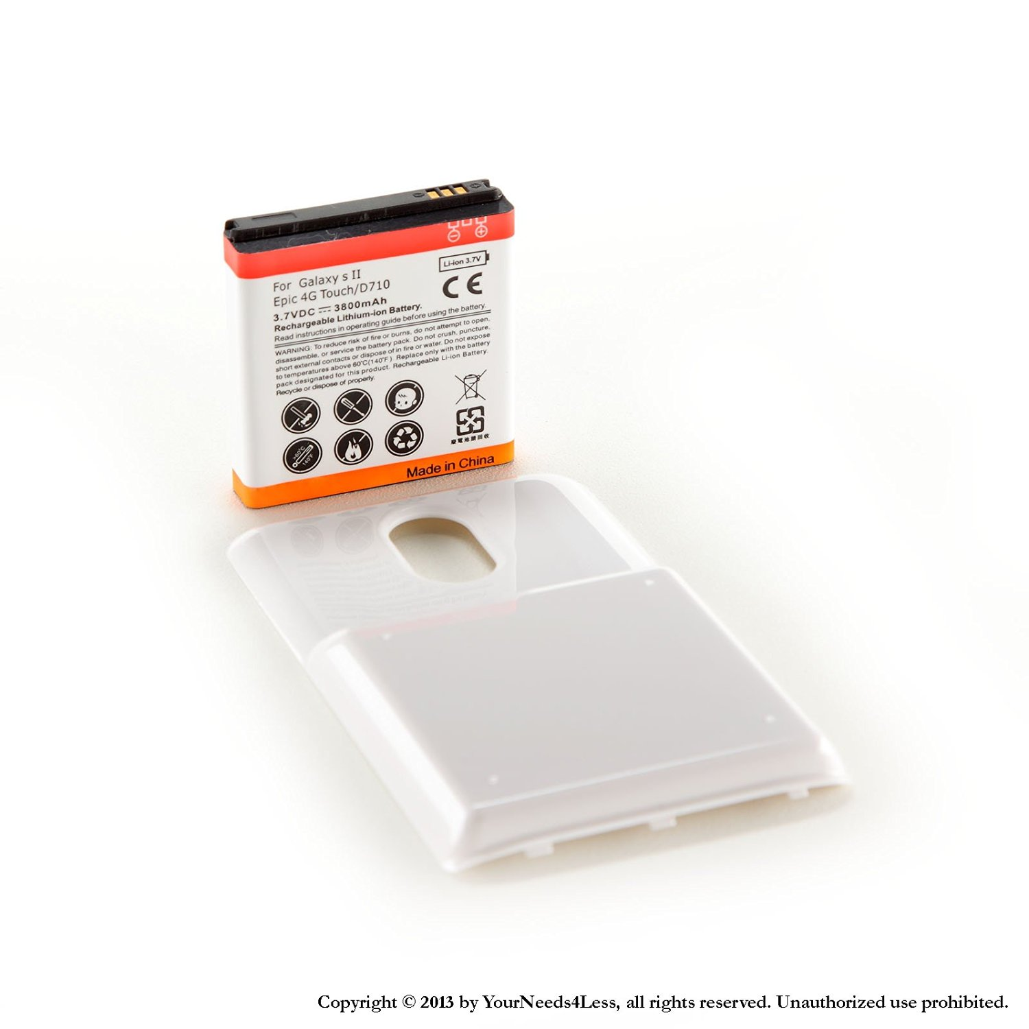 YN4L® 3800mAh extended battery for Samsung Galaxy S II Epic 4G Touch D710 Sprint + White cover