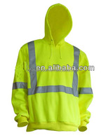 sport breathable fast dry birdeyes lime extreme moisture high visibility long sleeve fit T shirt with hood reflective tape
