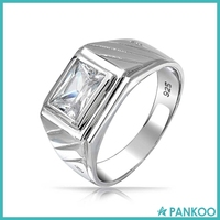 Fashion Jewelry 925 Sterling Rectangle CZ Grooved Lines Men's Engagement Ring ,Zircon Ring For Men,Ring Men