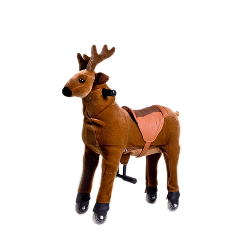 Mofawangzi Saddle-less Rocking Ride on Reindeer Toys Walking Riding Horse Cycle Toy with Wheels and Foot Rest without Battery or Electricity Mechanical, Brown Reindeer Medium for 4-9 Age