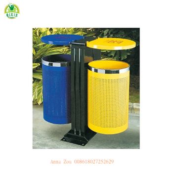 Colorful open top environmentally friendly dustbin/metal frame indoor waste bin/classfied kitchen recycling bins QX-148C