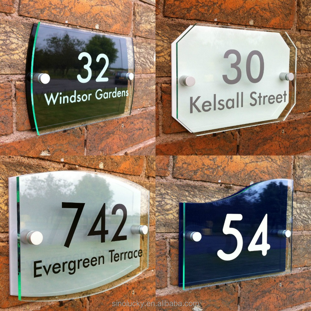 HOUSE NUMBER SIGN DOOR ADDRESS PLAQUE PERSONALISED PROPERTY PLATE GLASS EFFECT