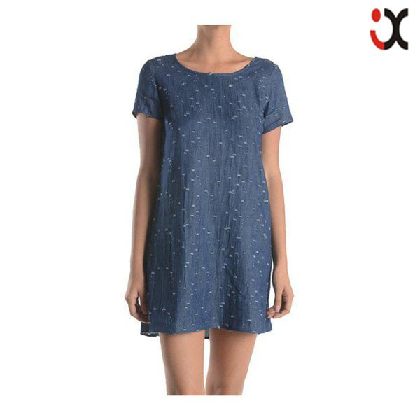 2015 Sexy Distressed Cotton Denim Shorts Sleeve Shif Dress (jxy002 ...