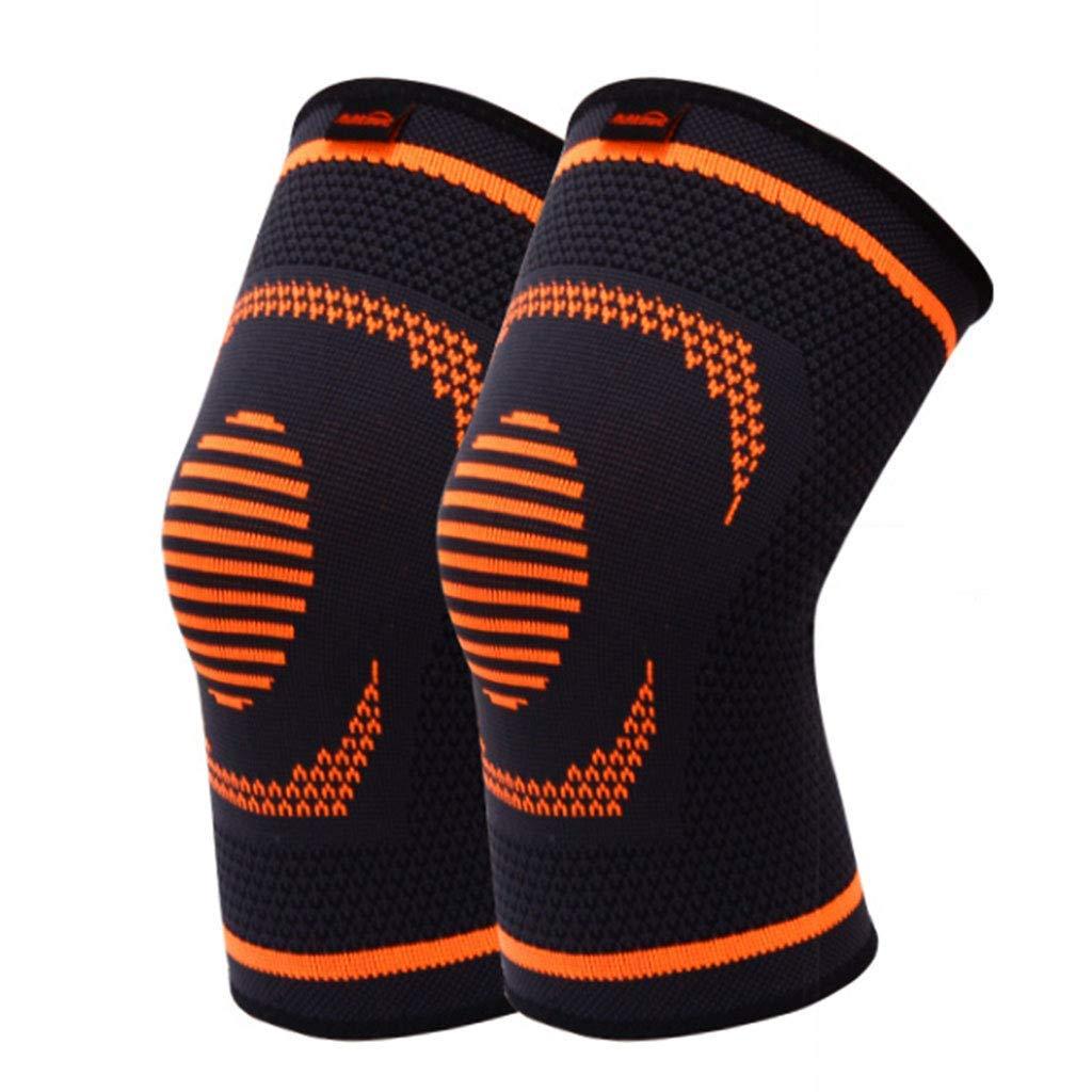RenShiMinShop Knee Pads Kneepad Sports Knee Pads Outdoor Fitness Protective Gear Warm Breathable Knee Pads high Elastic Anti-Slip Knee Pads 2 Pack (Color : Black+Orange, Size : L)