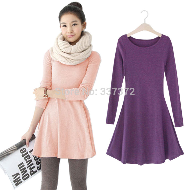 Free Shipping Autumn And Winter Women Plus Size Solid Purple | Black | Red | Pink Plus Size Casual Long Sleeve Dress
