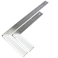 Stainless Steel Try Square Aluminum Grip Right Angle Ruler Woodworking Level & Tool Drawing Ruler 300mm 500mm