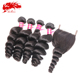 Good quality 100% loose wave brazilian hair bundles with closure