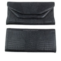 Factory supply low price branded PU wholesale alligator skin black purses cheap ladies wallets
