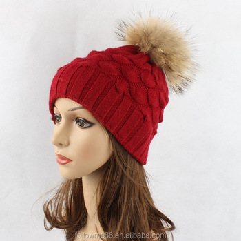 Women Outdoor Acrylic and wool Pineapple Pattern knitted beanie hat with raccoon fur ball winter ladies outdoor warm knitting ha