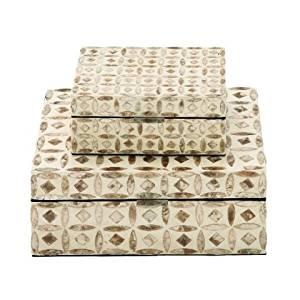 Benzara 41125 Attractive Boxes44; Mop Lacquer - Set of 2