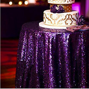 Cheap 120 Purple Custom Made Sequin Fabric Designs Round