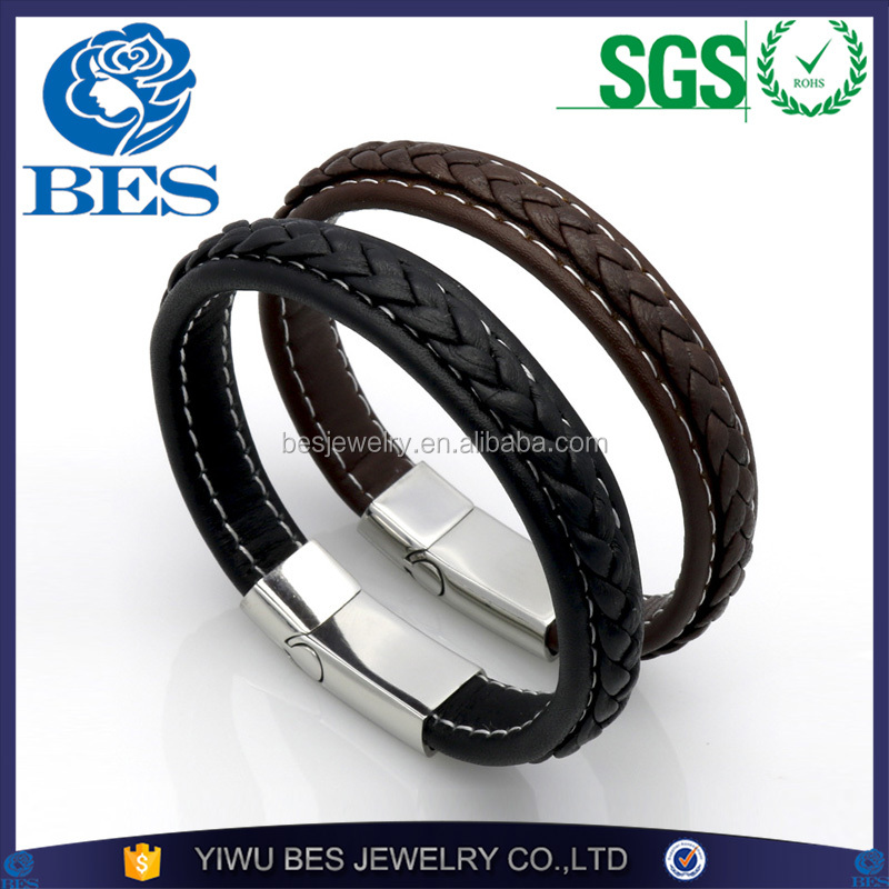 Braiding Wrist Strap High Quality Stainless Steel Clasp Men's Genuine Leather Bracelet