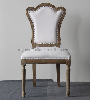 Antique French Country Style Studded Oak Wood Dining Room Side Chairs