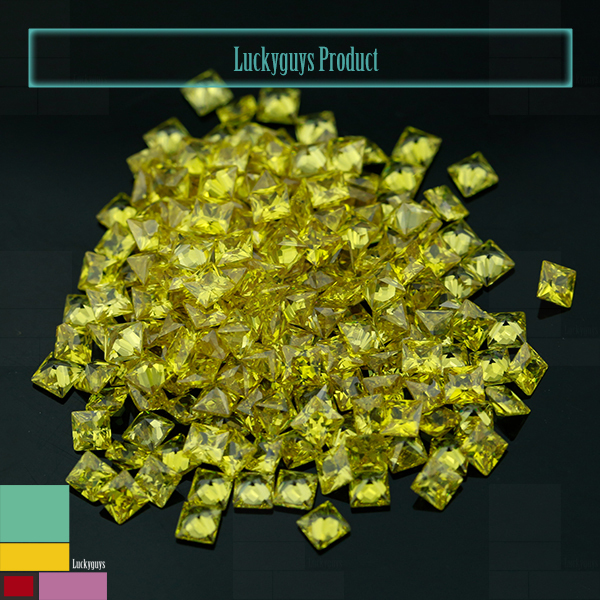 8*8mm square middle golden yellow cubic zirconia for party decorations