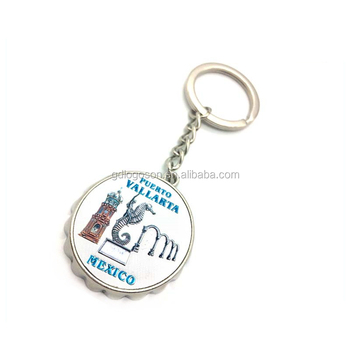Oem&odm Factory Mexico Souvenirs Metal Beer Cap Keychain Foil Sticker Round  Customized Bottle Opener Key Chain - Buy Beer Cap Keychain,Customized
